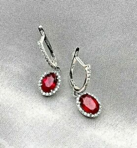 3.40Ct Oval Cut Red Ruby Halo Drop & Dangle Earrings 14K White Gold Finish