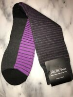 Saks Fifth Avenue Luxurious Cotton Blend Men's Socks 10-13 NWT Lilac Gray Stripe