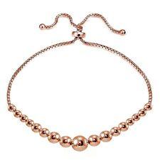 Rose Gold Flashed Sterling Silver Graduated Bead Adjustable Bracelet