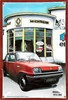 PLAQUE METAL publicitaire vintage RENAULT 5  - 1972 1985  GARAGE  - 30 x 20 cm
