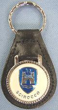 Vintage White VW SCIROCCO Castle Black Leather Keyring Key Fob Key Holder