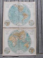 2 maps Northern Southern Hemisphere 1895 antique map world globe