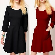3/4 Sleeve Crew Neck Big Pocket Cocktail Homecoming Prom Party A Line Min Dress