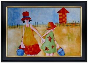 Framed Mother and Daughter Carrying Bucket, Hand Painted Oil Painting  24x36in