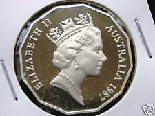 1987  50 cent proof coin.Only 69,684 made! Brilliant coin in 2 x2 holder!