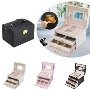 Large Jewellery Box Necklaces Bracelets Jewelry Storage Organiser W/ Lock & Key