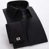 Luxury Men's French Cuff Shirt Formal Slim Casual  Business Dress Shirts 6334