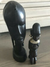 2 Lot Exotic Carved Wood African Woman- Head Tribal Primitive Sculpture