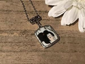 Recycled Broken Porcelain Jewelry, Asian Geisha Pendant