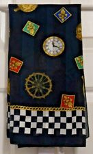 """TERRIART Clocks, Chain, Medallions, Checkerboard 29"""" Square Scarf-Vintage"""