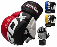 RDX Leather Boxing MMA Gloves Quick Wrap Training Punching Cage Fighting T6