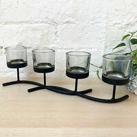 Black Metal Decorative Display Multi Glass Tea Light Votive Candle Holder Gift