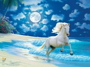 Jigsaw Puzzle Animal Horse Moonlit Dance 300 EZ Grip over sized pieces NEW Glow