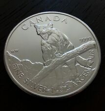 1 Oz .9999 Silver 2012 Canada Cougar Wild Life Series Bullion Coin New from Tube