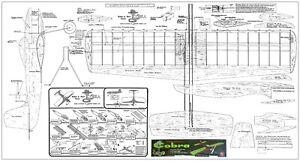 Mercury Cobra plan set control line profile stunt .19-.35 motor required