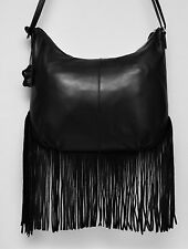 Margot Nappa Leather Fringe Crossbody Hobo Shoulder Bag Black New