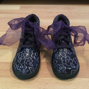 NEW Stride Rite Purple Patent Leather Boots Flowers Sz Toddler 10 M ~ FREE SHIP!