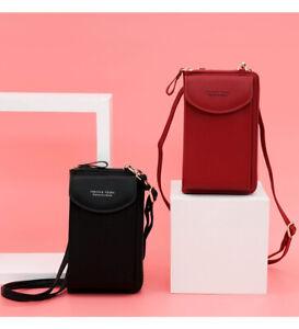 Women Leather Wristlet Handbag Crossbody Phone Bag Coin Purse Wallet Cards Pouch