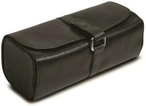 Black Leather Snap Strap Large Jewelry Roll