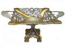 Brass Plated  Fruit Bowl Footed Pedestal Centerpiece Gondola Amber Boat Vintage
