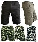 Mens Army Camouflage Cargo Elasticated Shorts Cotton Combat Half Pants Bottoms a