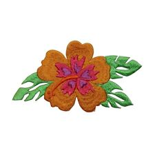 ID 6389 Orange Hibiscus Patch Exotic Flower Hawaiian Embroidered IronOn Applique