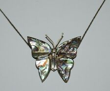 Vintage Butterfly Shaped Abalone Shell & Sterling Silver .925 Necklace Rare