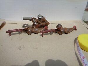 Manoil Machine gunner  lot of 3 lying down vintage metal toys guns, Barclay