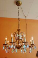 Ornate Vintage Spanish Brass Chandelier with 8 arms, Aurora Borialis prisms.