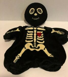 Skeleton Costume Outfit Teddy Bear Clothes Black Face Mask Build-A-Bear