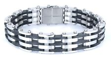 "USA RUBBER & STAINLESS STEEL Link Unisex Cool Bracelet SSB-029 (8.5"")"