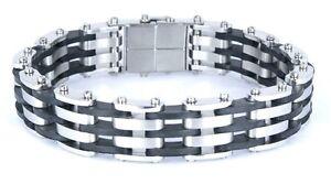 "USA RUBBER & STAINLESS STEEL Link Unisex Cool Bracelet SSB-029 (8.5"")"