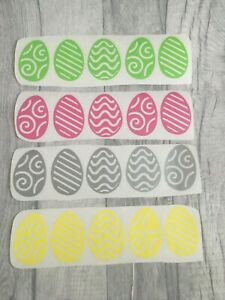 20 Easter Eggs Treat Vinyl Decal Sticker Chocolate Box Crate Craft Card Hunt