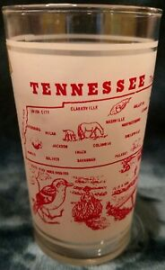 NOS w/sticker Vintage 1950's Federal Tennessee state frosted drinking glass