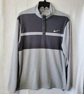 Nike Golf Men's Long Sleeve Mock Neck Grey Shirt Large 1/4 Snap Button XL