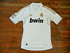 Adidas REAL MADRID ClimaCool White/Gold SOCCER JERSEY Bwin Polo Shirt Sz Men's M