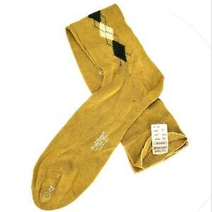 Paul Stuart Vintage Deadstock Argyle Mid Calf Dress Socks Mustard Hipster LARGE
