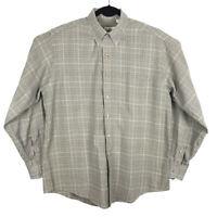 Viyella Mens Green Plaid Cotton Wool Long Sleeve Button Down Shirt Size Large