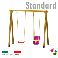 Altalena in legno giardino Standard con N.1 sedile libero ed N.1 sedile a gabbia
