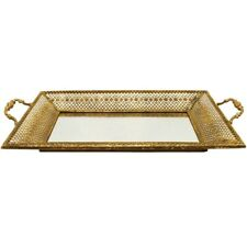 Contemporary Lustre Hive Mirror Breakfast Platter Tray Plate GOLD 52x30x7CM
