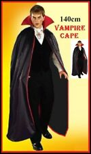 VAMPIRE Dracula 140cm BLACK CAPE Teen Adult Halloween Horror Goth Costume Party