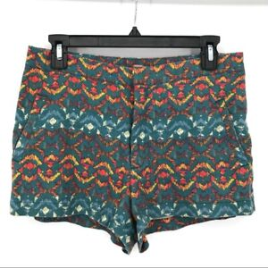 Free People high rise aztec tribal print linen blend multi-colored shorts size 6