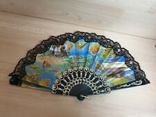 Vintage Handheld Folding Fan - Colourful pictures of the Canary Islands