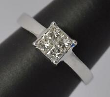 Beautiful 0.50ct Diamond 18ct White Gold Cluster Engagement Ring d0092