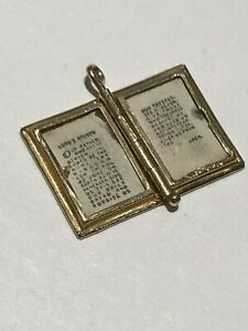 Vintage 1930's 14k Yellow Gold Holy Bible Charm Pendant / Lord's Prayer Inside