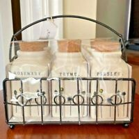 Rae Dunn by Magenta Spice Herb Jars in Wire Rack w/ Cork Tops Set of 6