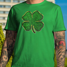 St. Patrick's Day Green & Gold Clover T-shirt Ireland Party Paddy's Lucky Gift
