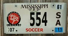 """MISSISSIPPI """"SOCCER"""" LICENSE PLATE (STATE ISSUED PLATE)"""