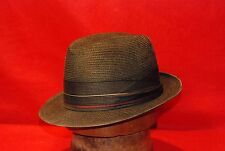 Fedora Black Straw Knox Vintage Hat with Black, Gold, & Red Band size 6 7/8 - 7