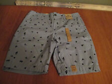 New Mens Size 30 30W Roebuck & Co Blue Print Casual Shorts Flat Front Cotton